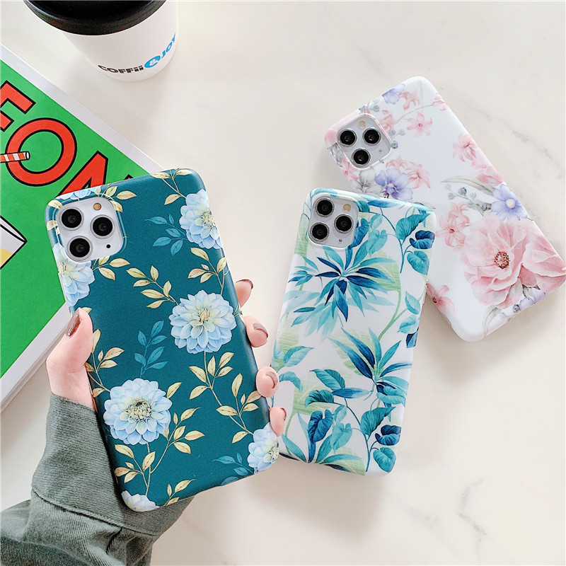 Fashion Pink Floral Phone Case For Iphone 11 Pro Max 7 8 Plus Soft Cover Retro Art Leaf Painting Case For Iphone X XR XS Max 6S