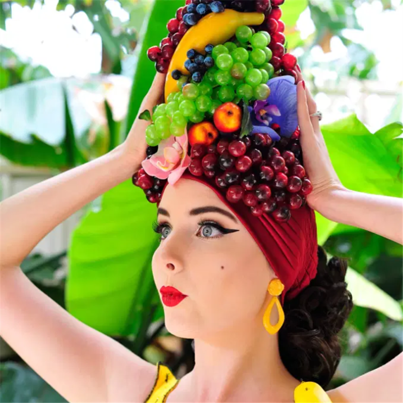 African Women Headwraps Fashion Carmen Miranda Fruit Turban Hat