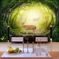 Drop Shipping Custom Wall Mural 3D Stereo Sika Deer Fog Forest Mural Living Room TV Background Wall Restaurant Hotel Wallpaper