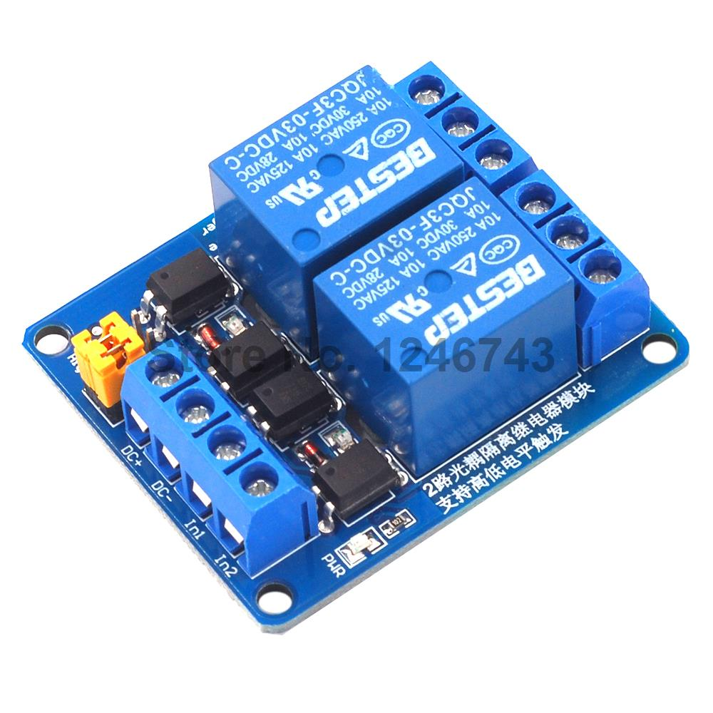 3.3V 5V 12V 24V 2 Channel Relay Module High And Low Level Trigger Dual Optocoupler Isolation Relay Module Board