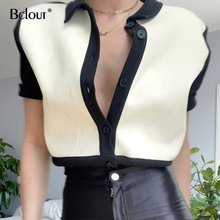 Bclout Turn Down Collar Female Tops Button Down Short Sleeve Women Tops And