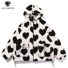 Winter Jacket Hooded Drawstring Aolamegs Heart-Shaped Streetwear Print Zipper Lambswool