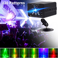 WUZSTAR диско светодиодный диджейские Лазерные Лампы 7 отверстий 120 узоров вечерние светильник ing эффект для сценического украшения RGB красочны...