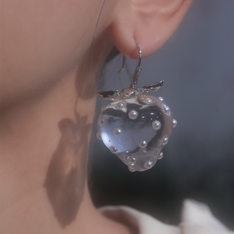 Новые прозрачные серьги в виде клубники с кристаллами и жемчугом S925, геометрические серьги в виде фрукта для женщин и девушек, дорожные украшения HUANZHI 2021|Серьги-подвески|   |