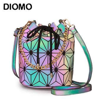 DIOMO Geometric Reflective Luminous Bucket Bag Women Fashion Designer Handbags High Quality Crossbody Shoulder Bags for Girls - DISCOUNT ITEM  37% OFF All Category