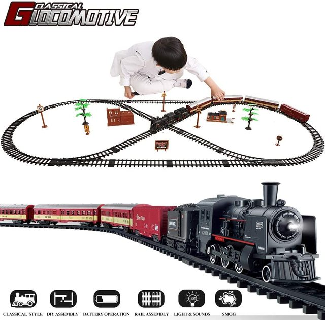 Electric Train Toy Set Car Railway and Tracks Steam Locomotive Engine Diecast Model Educational Game Boys Toys for Children Kids 1