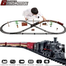 Electric Train Toy Set Car Railway and Tracks Steam Locomotive Engine Diecast Model Educational Game Boys Toys for Children Kids
