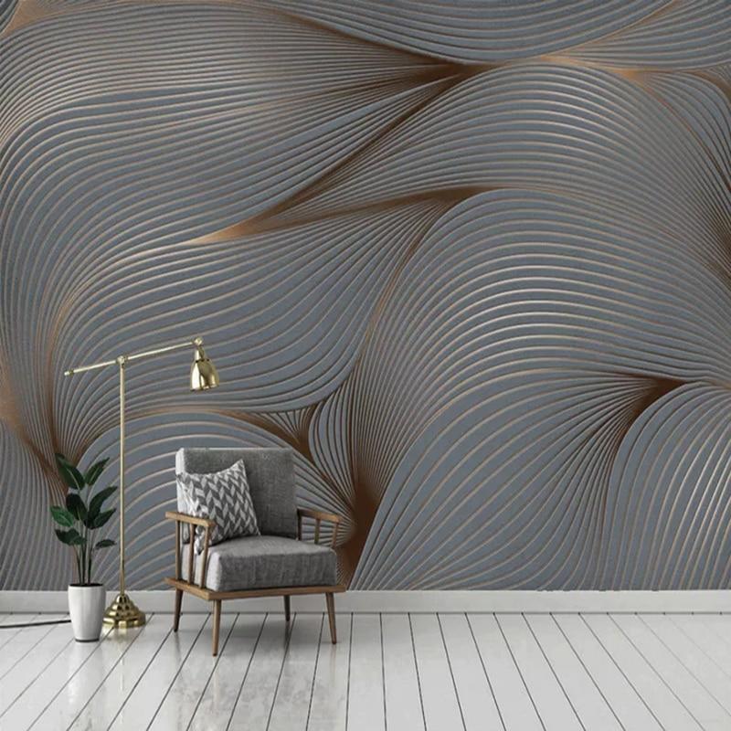 Custom 3D Wall Murals Modern Stripe Abstract Art Wallpaper Living Room TV Sofa Background Wall Sticker PVC Self-Adhesive Fresco