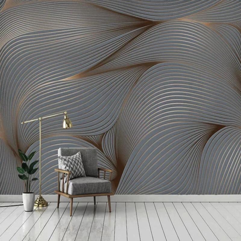 Custom 3d Wall Murals Modern Stripe Abstract Art Wallpaper Living Room Tv Sofa Background Wall Sticker Self Adhesive 3d Frescoes Wallpapers Aliexpress