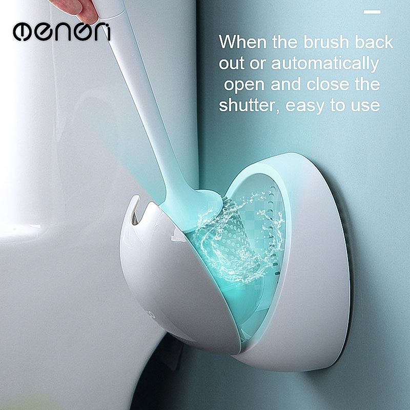 MENEN Toilet Brush Without Dead Corners Household Wall-mounted Racks Creative Bathroom Silicone Wash Squat Toilet  LF71042