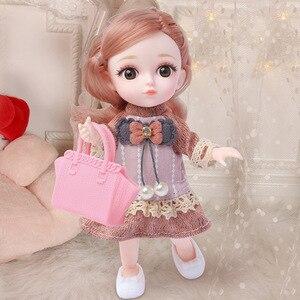 Новинка 16 см Bjd кукла 12 подвижных суставов 1/12 Сделай Сам девушки одеваются 3D глаза мини-кукла, игрушка с одеждой обувь дети мода подарок на де...