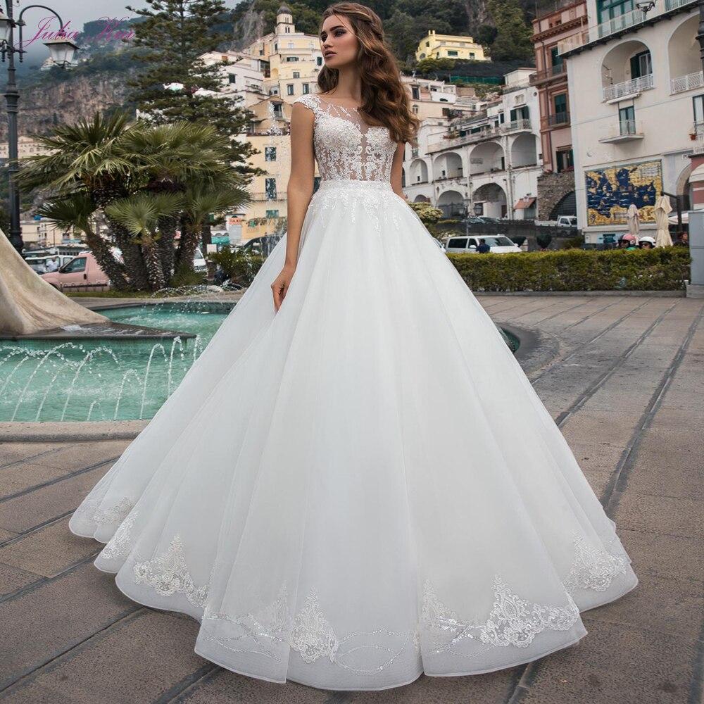 Julia Kui Luxury A-line Wedding Dress Princess Bridal Dress Of Sequins Crystals Court Train