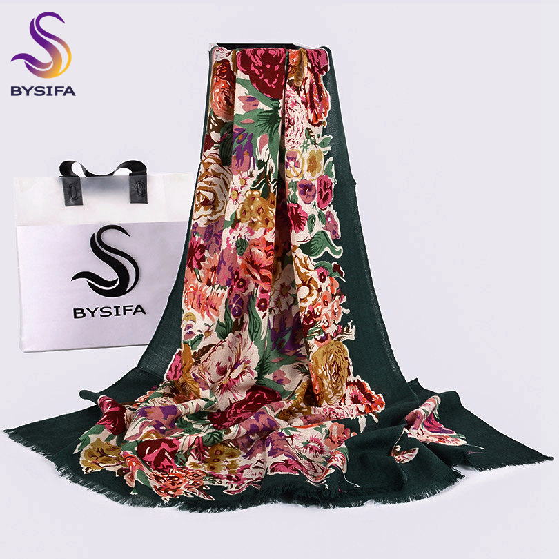 [BYSIFA]100% Wool Women Green Scarves Shawls New Chinese Peony Long Pashmina Scarves Spring Autumn Female Brand Neck Scarf Hijab