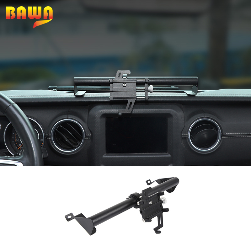 BAWA GPS Fixed frame For Jeep Gladiator JT 2018+ Car Mobile Phone Support Holder Accessories For Jeep Wrangler JL 2018+