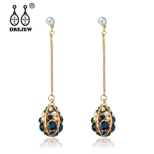 DREJEW Fashion Red Green Blue Rhinestone Water Drop Statement Dangle Earrings Long Korean Alloy Pearl for Women HE7171