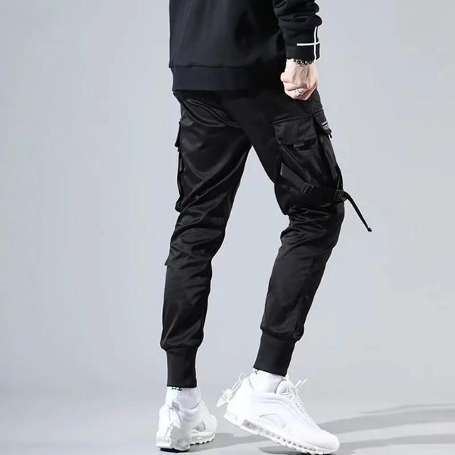 Fitas harem joggers calças de carga dos homens streetwear 2020 hip hop bolsos casuais calças faixa masculina harajuku moda 6