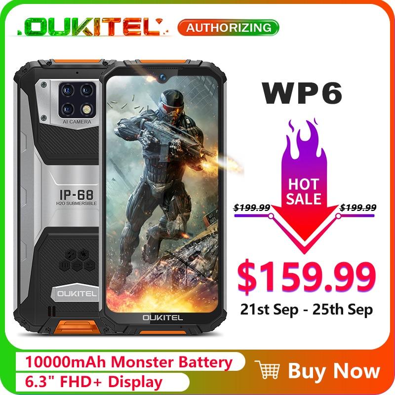 "OUKITEL WP6 10000mAh 6.3"" FHD+ IP68 Waterproof Mobile Phone 4GB 128GB Octa Core 16MP Triple Cameras Rugged Smartphone"