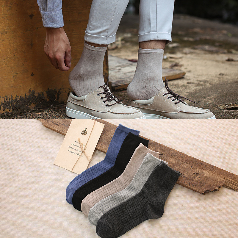 PEONFLY Men Socks Solid Color Cotton Classical Businness Casual Socks Summer Autumn Excellent Quality Breathable Male Sock