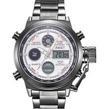 AMST montre de Sport militaire pour hommes, de luxe, montre numérique analogique pour hommes LED, horloge à Quartz inoxydable