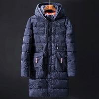 Men Parkas Casual Long Jacket Outwear 6XL 8XL 10XL Camouflage Winter Thicken Warm Hooded Outwear Coat Windproof Blue Deep Grey