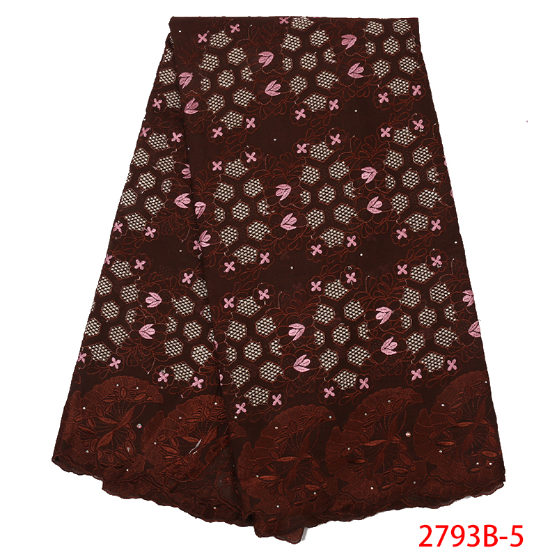 African Swiss Voile Lace In Switzerland Hot Sale Nigerian Embroidered Lace Fabric French Cotton Laces With Stones KS2793B-5