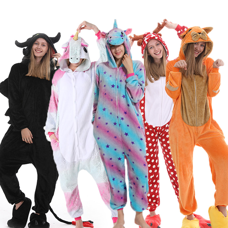 Women Men Pajama Set Kigurumi Unicorn Pajamas Animal Panda Stitch Onsie Cosplay Pijama Franela Mujer Homewear Sleepwear