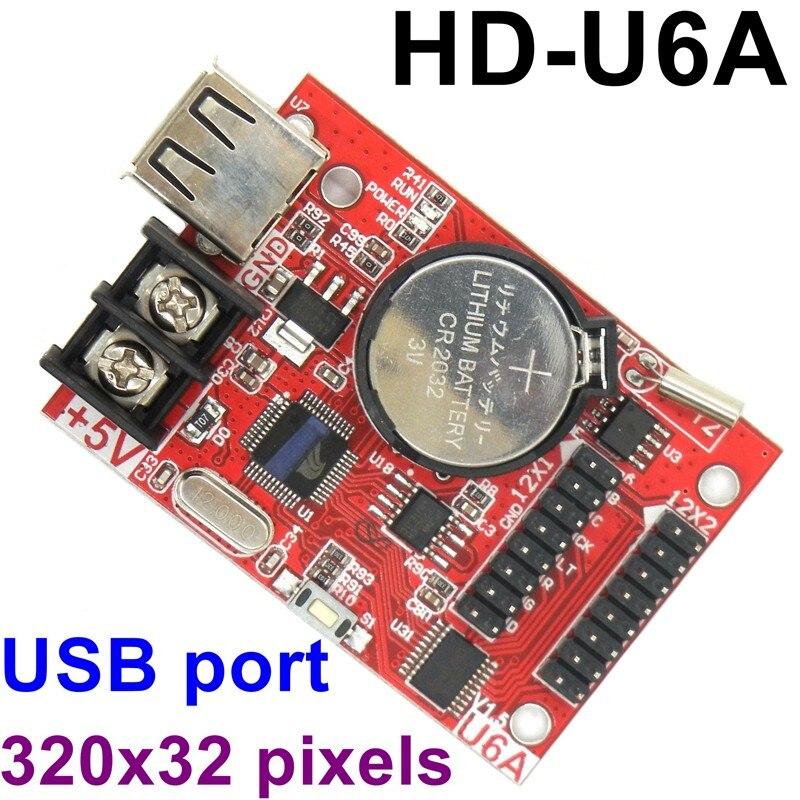 ฟรีเรือ HD-U6A 320x32 พิกเซล USB LED ควบคุมไร้สาย Asynchronous Controller MAX 20pcs P10 โมดูลสนับสนุน