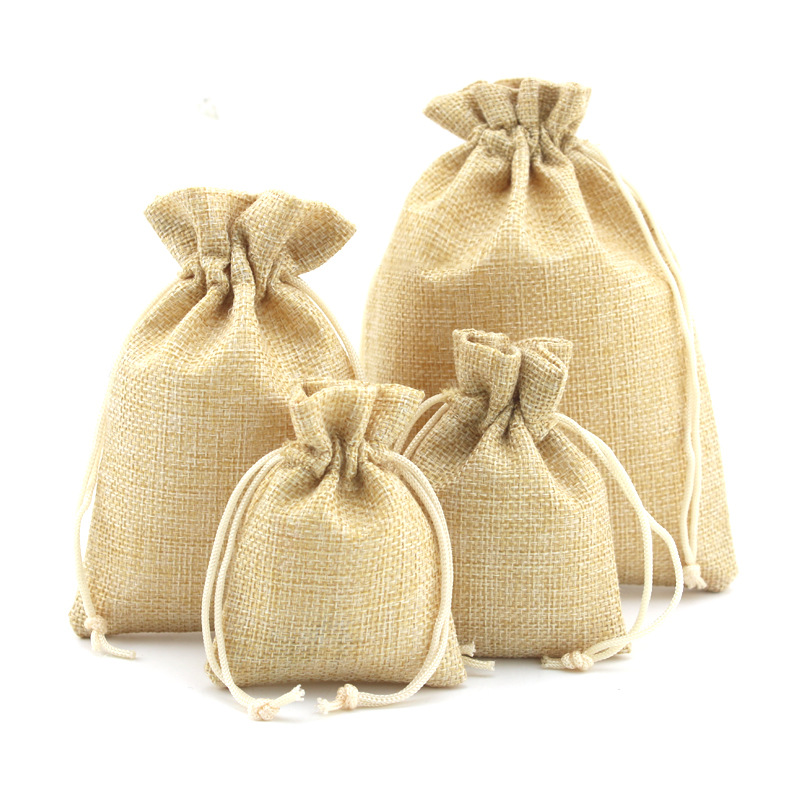 100pcs Cotton Linen Fabric Dust Cloth Bag Natural Burlap Hessia Jute Bags Wedding Party Favor Pouch & Drawstring Gift Bags