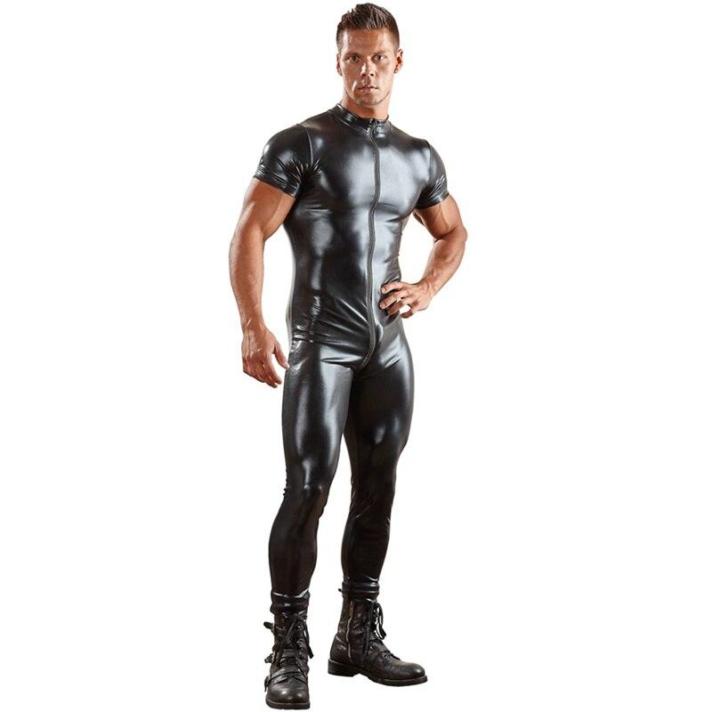Сексуальный мужской комбинезон из искусственной кожи для мужчин, облегающий боди, комбинезон на молнии спереди с открытой промежностью, латексный костюм зентай, 3XL