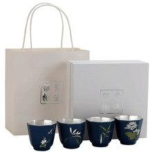 Tang She 999 Pure Silver Cup Mei Lan Zhu Ju Ceramic Tea Cup Gilded Silver Tea Cup Master Cup Kungfu Individual Single Cup щетка для жирной посуды zhu yi tang