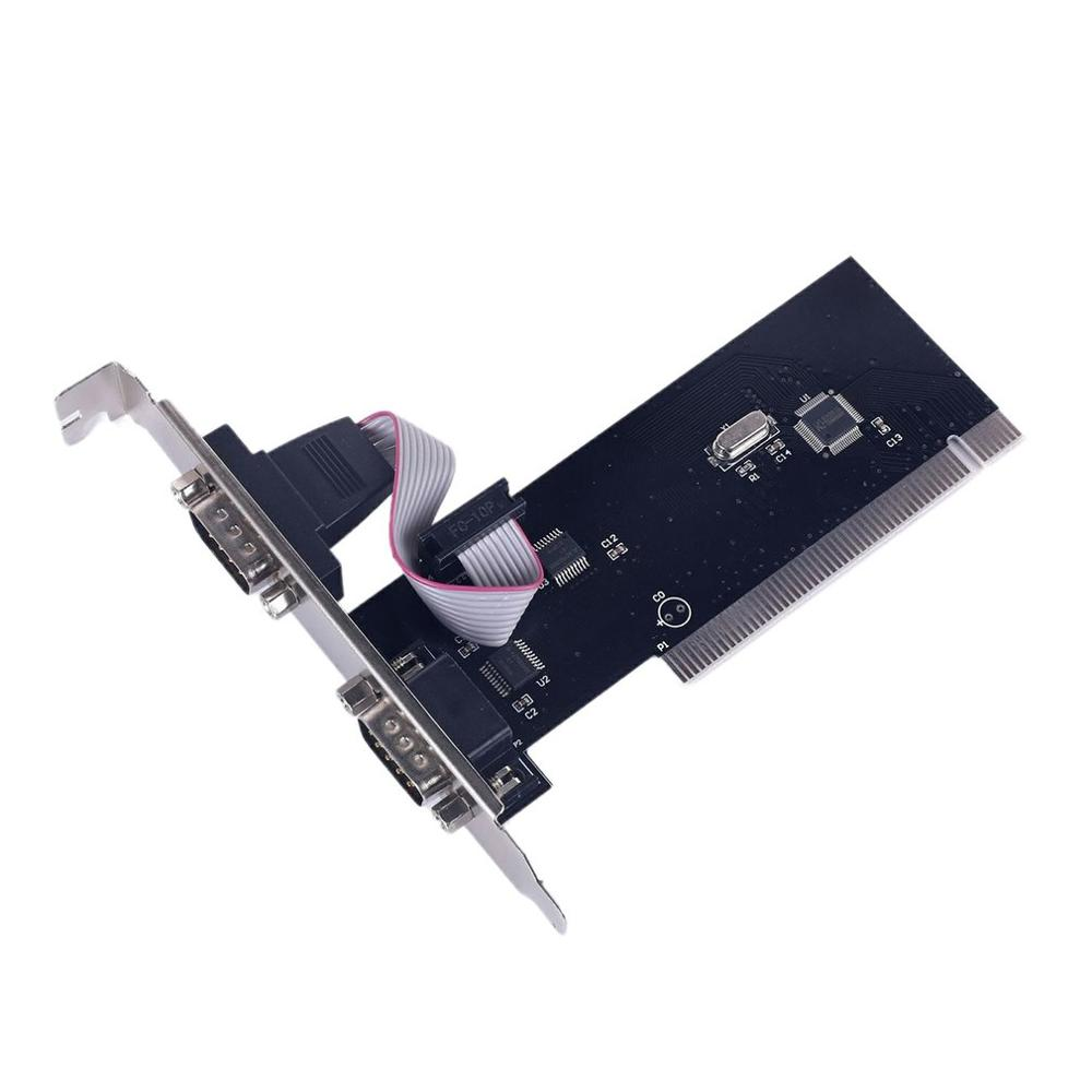 2 Port Pci Serial Rs232 Db9 Adapter Card Controller Support Desktop Computer Card Pci To Com Expansion Card