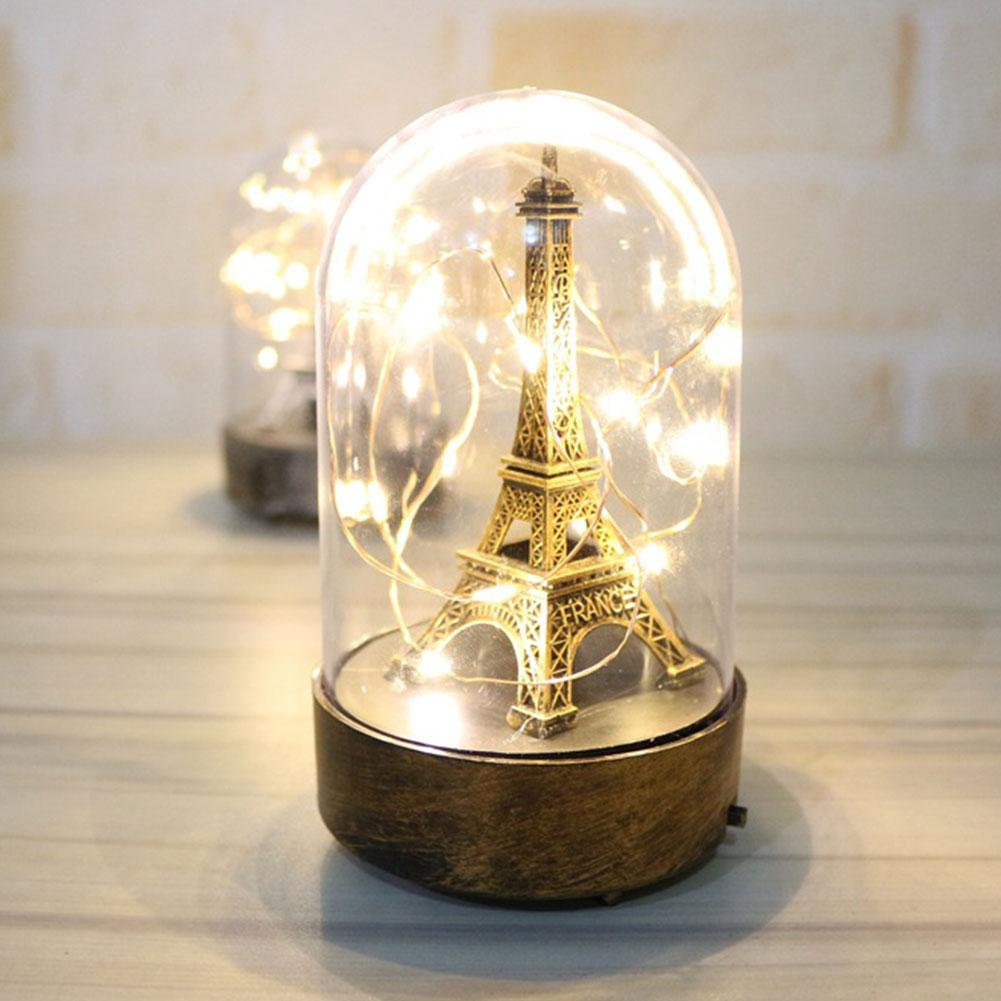 Romantic LED Table Lamp For The Bedroom Night Lights Paris Tower Light Valentine Gifts For Home Decorative Light Lampe De Chevet