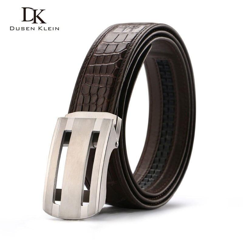 Nuevo cinturón de cocodrilo genuino cinturón de hebilla de acero inoxidable para hombre de negocios casual cuero cocodrilo cintura negro/marrón Correa E318 - 5