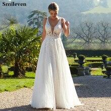 Smileven  Wedding Dress Turkey A Line Boho Bridal Dresses Sexy V Neck Vestido De Noiva Lorie Formal Gowns 2019