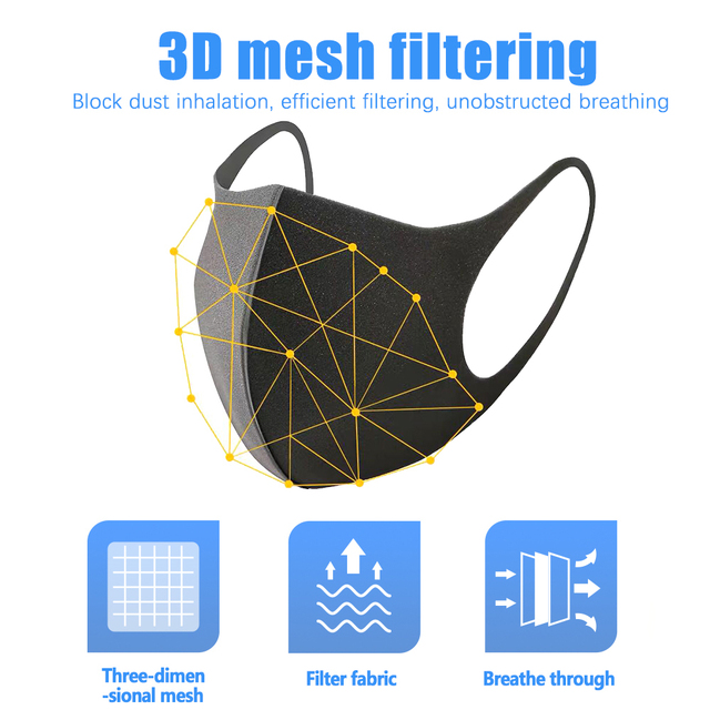 Black Mouth Mask Anti Dust Mask PM2.5 Activated Carbon Filter Windproof Bactea Proof Flu Face Masks Care Safety Mask for Dust