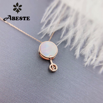 ANI 18K Solid Rose Gold Pendant Necklace Real Natural Diamond Fine Jewelry Women Engagement Necklace Birthday Gift Pear Shell 1