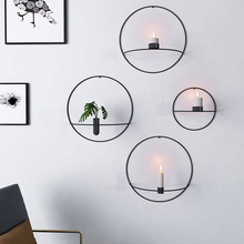 Ring Shape Candle Holder Iron Decorative Candlestick For Party Wedding Dining Table Wall Mounted 3D Metal Candlestick Home Decor candlestick candle holder 3d geometric tea light wall mounted metal candlestick party wedding dining home decor candle holder