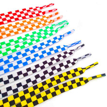 1Pair Flat Black And White Grid ShoeLace Mosaic Sublimated Printing Checkered Ribbons Shoelaces Polyester Heavy Duty Sneaker