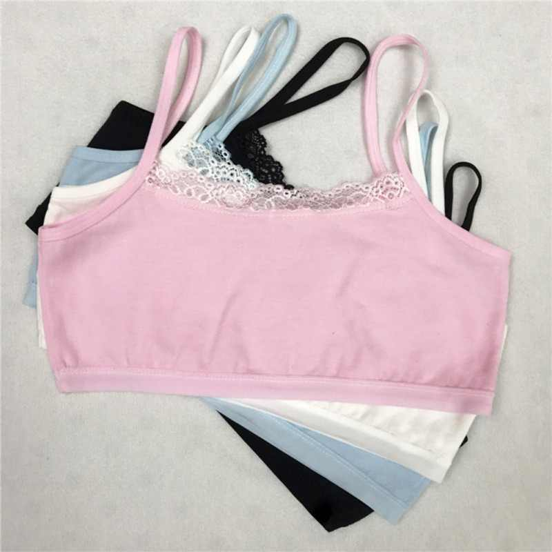 8-12Y Child Girl Cotton Underwear Cute Lace Soft Comfortable Camisoles Sports Bra Top For Kid Girls Teens Training Bra 4 Colors