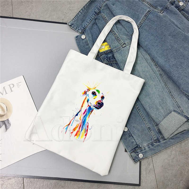 Greyhound köpek hayvan Pet komik alışveriş çantası orijinal tasarım beyaz Unisex moda seyahat keten çantalar
