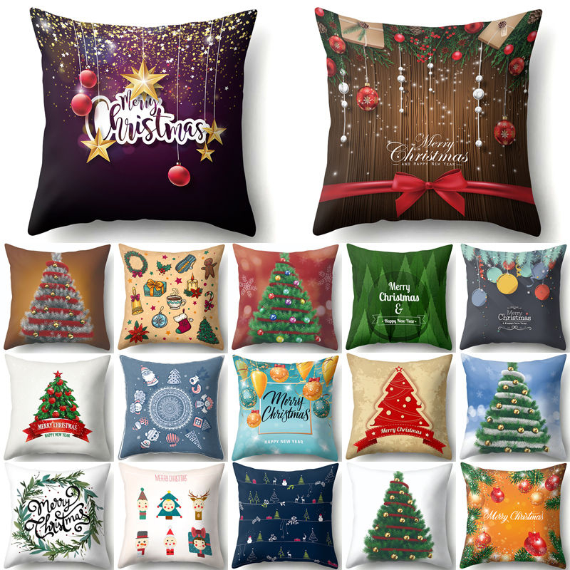 Christmas tree Snowflake Cushion Cover 45*45cm Decorative Pillows Xmas New Year Sofa Bed Home Decor Polyester Pillowcase 40543