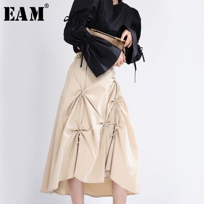[EAM] High Elastic Waist Black Bandage Bow Pleated Temperament Half-body Skirt Women Fashion Tide New Spring Autumn 2020 1T058