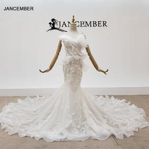 Image 1 - HTL1398 V Neck Wedding Gowns Applique Mermaid Wedding Dress Illusion Bride Dress Bohemian Pearl свадебное платье русалка