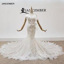 Htl1398 vestido de casamento gola v, aplique, sereia, de noiva, ilusão, boêmio, pérola