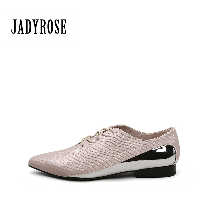 Jady Rose Casual Flats Shoes Women Pointed Toe Boots British Style Pleate Genuine Leather Ankle Boots Women Lace Up Brogue Shoes
