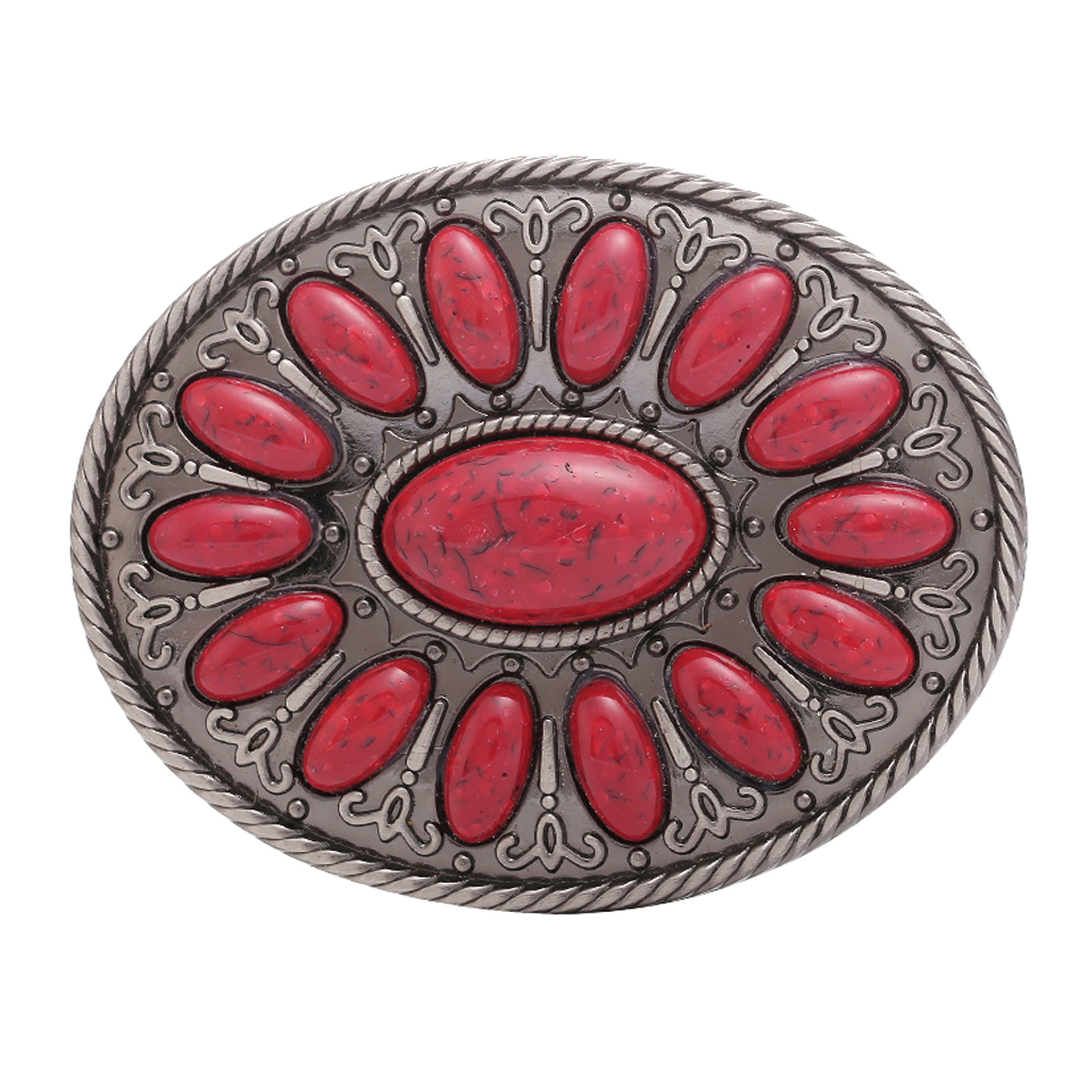 Retro Style Oval Red Beads Leather Belt Buckle Cowboy Hip Hop Jean Accessory