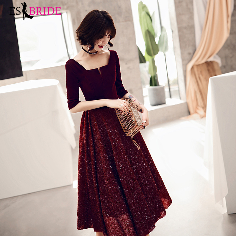 2019 Long Evening Dresses Party Student Formal Dress Short Sleeve Sexy Red Gown Lace Elegant Evening Dresses Evening Gown ES2479