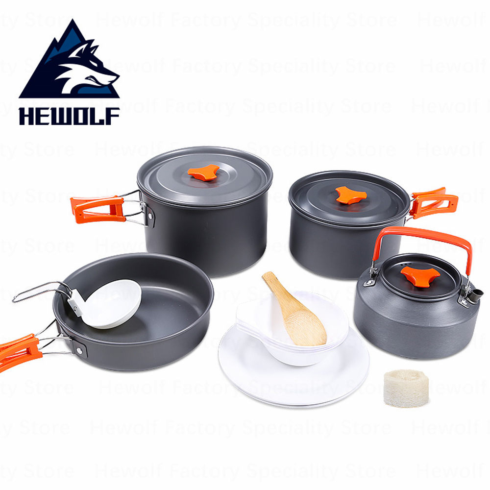 12pcs/set Outdoor Camping Cookware 4-5 Persons Picnic Cookware Tableware Set Foldable Portable Travel Multipurpose Cooking Tool
