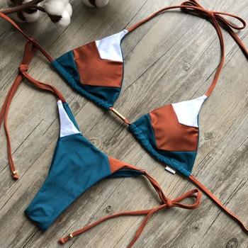 Sexy Halter Swimsuit Women Thong Micro Bikini Push Up 2020 Brazilian Bikini Tropical Plant Print Swimwear String Mini Swimsuit 2