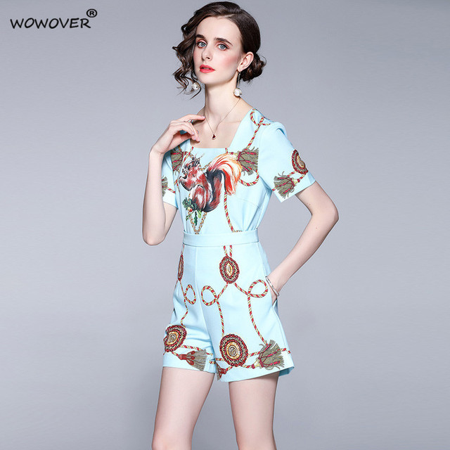 Women's Fashion Runway Two Piece Sets for Summer Elegant Lady Square Collar Print Top Suits with Shorts Casual Outfit Streetwear 2